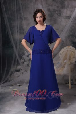 Blue Short Sleeves Square Beading Mother Dress