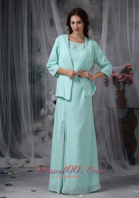Apple Green Sheath Scoop Beading Mother Dress