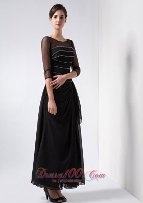Black Mother Of The Bride Dress Bateau Beading