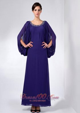 Long Sleeves Scoop Beading Mother Dress