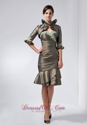 2013 Mother Dress Olive Green Column Appliques