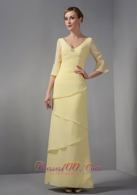 Discount Yellow Mother Dress Column V-neck
