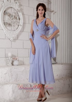 Lilac Mother Of The Bride Dress Under 100 V-neck