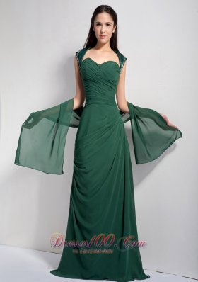 Dark Green Brush Train Mother Of The Bride Dress