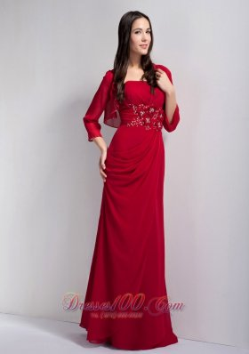 Hand Flowers Mothers Dresses Wine Red Chiffon