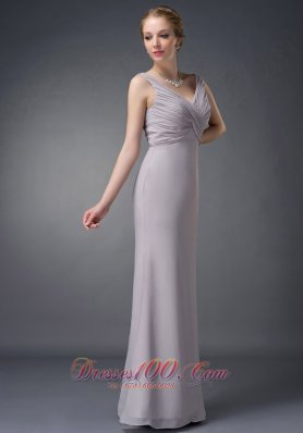 Grey V-neck Ruch Chiffon Mother Of The Bride Dress