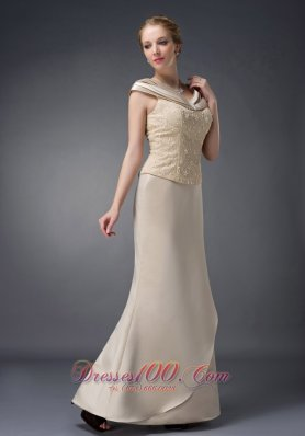 Champagne Mother Of The Bride Dress V-neck Lace
