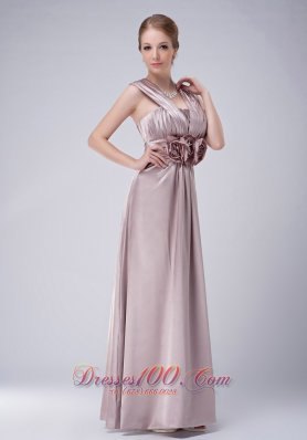 Lilac V-neck Mother Of The Bride Dress Hand Flowers