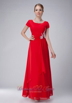 Red Chiffon Scoop Mother Of The Bride Dress