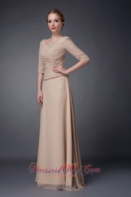 V-neck Champagne Chiffon Mother Of The Bride Dress