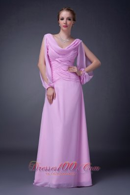 V-neck Chiffon Mother of the Bride Dress Baby Pink