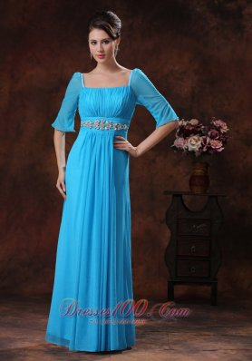Square Sky Blue Mother Of The Bride Dress Beading