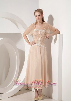 Champagne Tea-length Chiffon Mother Of The Bride Dress
