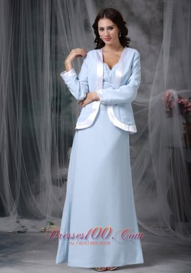 Baby Blue Mother Of The Bride Dress Chiffon Square