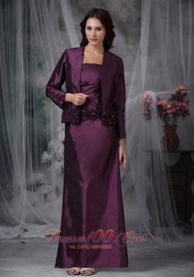 Dark Purple Ankle-length Taffeta Mother In Law Dresses