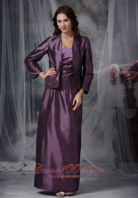 Ankle-length Dark Purple Mother Of The Bride Dress