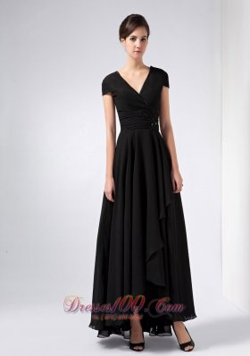 Black V-neck Sequins Mothers Dresses Ankle-length