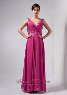 Hot Pink Column Mothers Dresses V-neck Floor-length