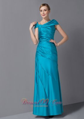 Teal Mothers Dresses Asymmetrical Ruch Ankle-length