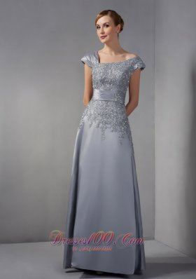 Gray Mothers Dresses Asymmetrical Appliques Ankle-length
