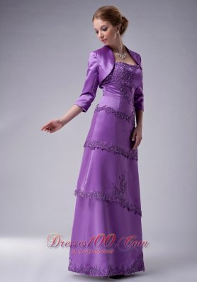 Eggplant Purple Strapless Mother Of The Groom Dress