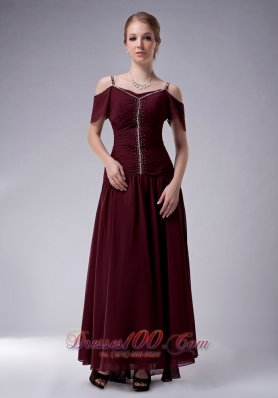 Burgundy Empire Straps Dress For Mothers Ankle-length