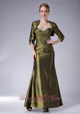 Olive Green Halter Mother Of The Bride Dress Ankle-length