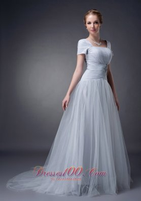 Gray Square Mother Of The Bride Dress Tulle Appliques