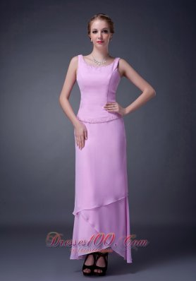 Baby Pink Scoop Mother Of The Bride Dress Ankle-length