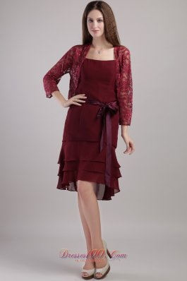 Layered Burgundy Mother Bride Dress With Lace Jacket