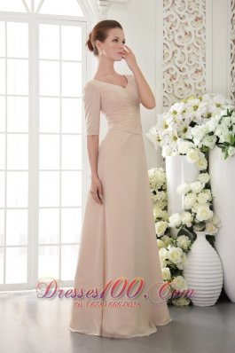 Half Sleeves Champagne V-Neck Mother Of The Bride Dress