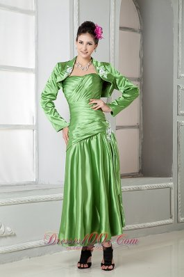 Spring Green Ruched Tea-Length Mothers Dresses For Weddings