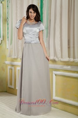 Taffeta And Chiffon Cap Sleeves Grey Mother Of The Bride Dress
