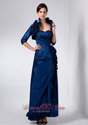 Navy Blue Mother Of Bride Dress Ruched And Ruffles