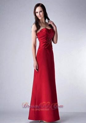 Red Sweetheart Mother's Dress With Beading