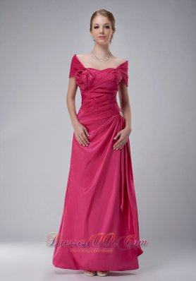 Off The Shoulder Pink Mothers Dress With Handle Flower