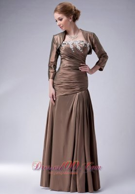 Ruched Brown Taffeta Mothers Dresses For Weddings