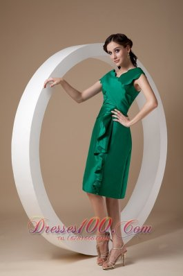 Green Ruffles Cap Sleeves Bridesmaid Mother Dress