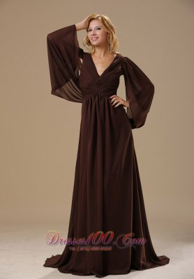 Special Sleeves Dark Brown Chiffon Mother Bride Dress
