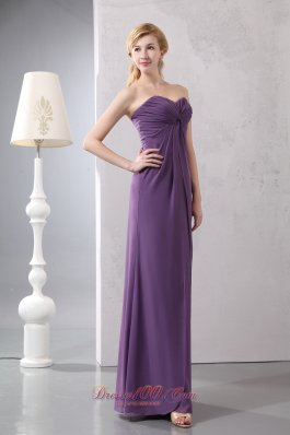 Elegant Purple Sweetheart Ruched Chiffon Prom Dress