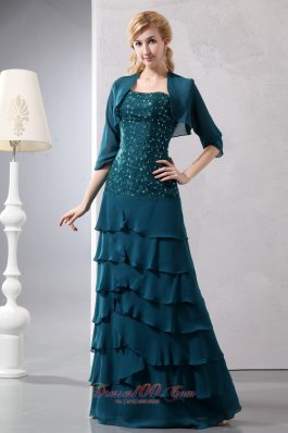 Layered Teal Chiffon Prom Dress With Jacket