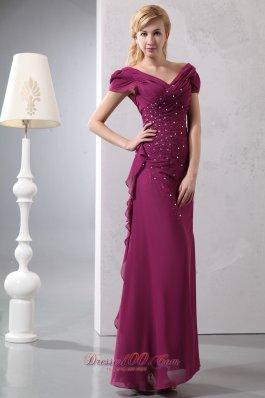 Prom Dress With Cap Sleeves Burgundy Layered Chiffon