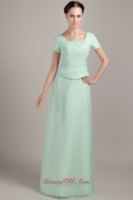 Short Sleeves Mother Of The Bride Dress Beading Square Neck