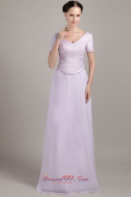 Chiffon V-neck Ruch Short Sleeves Mother Of The Bride Dress
