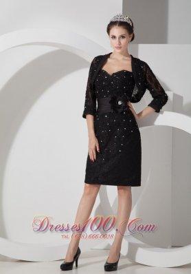 Sweetheart Beading Belt Black Prom Dress