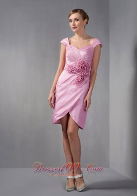 Cap Sleeves Hand Made Flowers Mother Of The Bride Dress