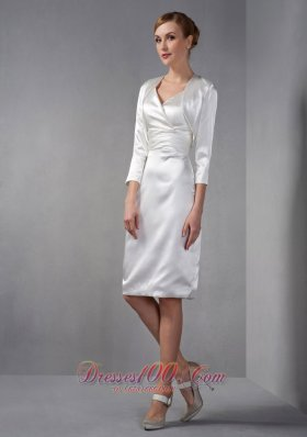 Ivory V-neck Ruch Mother Of The Bride Dress