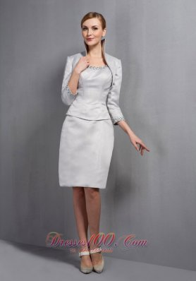 Satin Beading Scoop Column Mother Of The Bride Dress