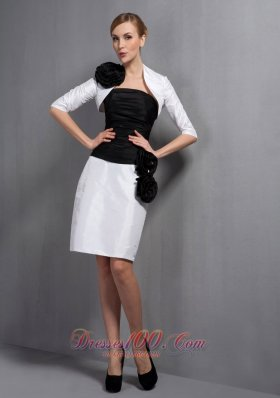Black and White Hand Made Flowers Mother Bride Dress