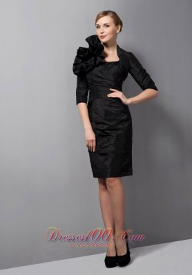 Simple Black Mother Of The Low Dress Ruch Mini-length